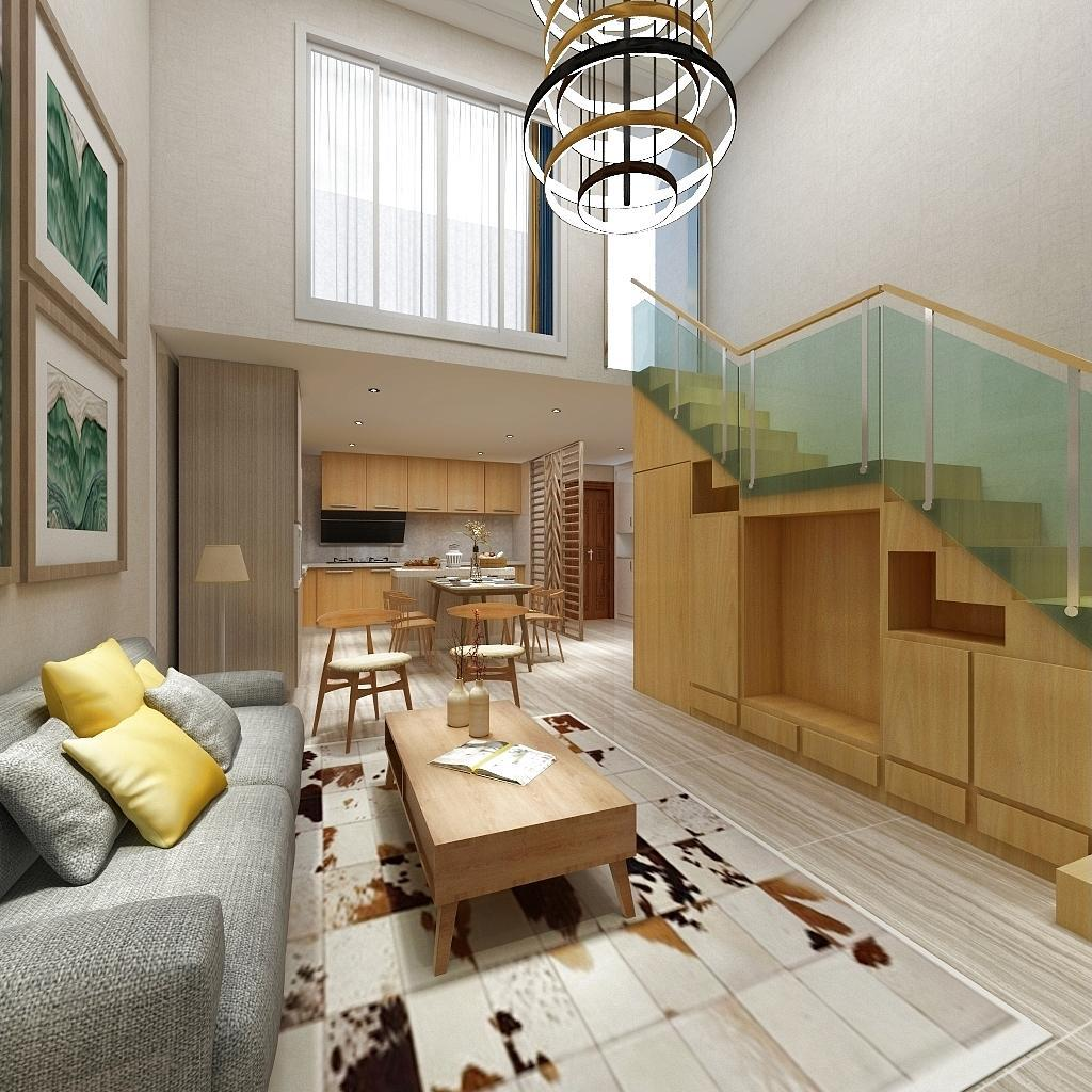 【3】客厅楼梯下做柜子,充当电视背景墙的同时满足储物功能,同时